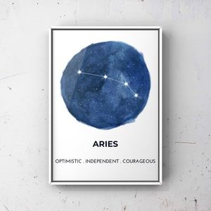 Aries zodiac sign constellation blue art print